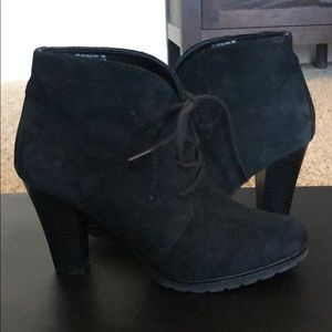 White mountain black suede booties